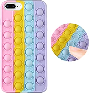 tharlet Compatible with iPhone 7 Plus Case, iPhone 8 Plus CaseSensory Fidget Toy Funny Silicone Bubble Anxiety Stress Pressure Rainbow Gift Soft Full Body Protection Cover-5.5 inch