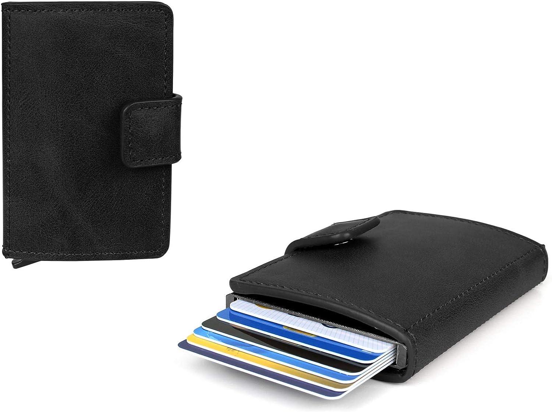 Figuretta Titular de la Tarjeta de crédito - Cartera imitación de Cuero Delgada de Billetera - Protección RFID - PU Antracita