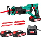 """HYCHIKA Cordless Reciprocating Saw 20V 2Ah 2 Batteries 4 Saw Blades, 0-2800SPM Variable Speed, 7/8"""" Stroke Length Tool…"""