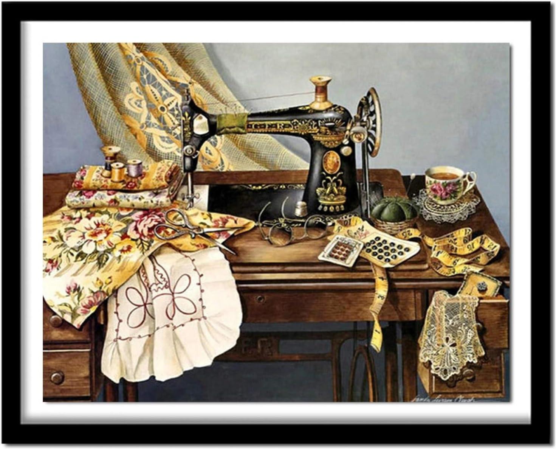 """5D DIY""""Máquina de coser-bodegón""""Kit de herramientas de pintura de diamantes para adultos, arte de mosaico, pintura de bordado de cristal de diamantes de imitación, decoración del hogar 40x50cm"""