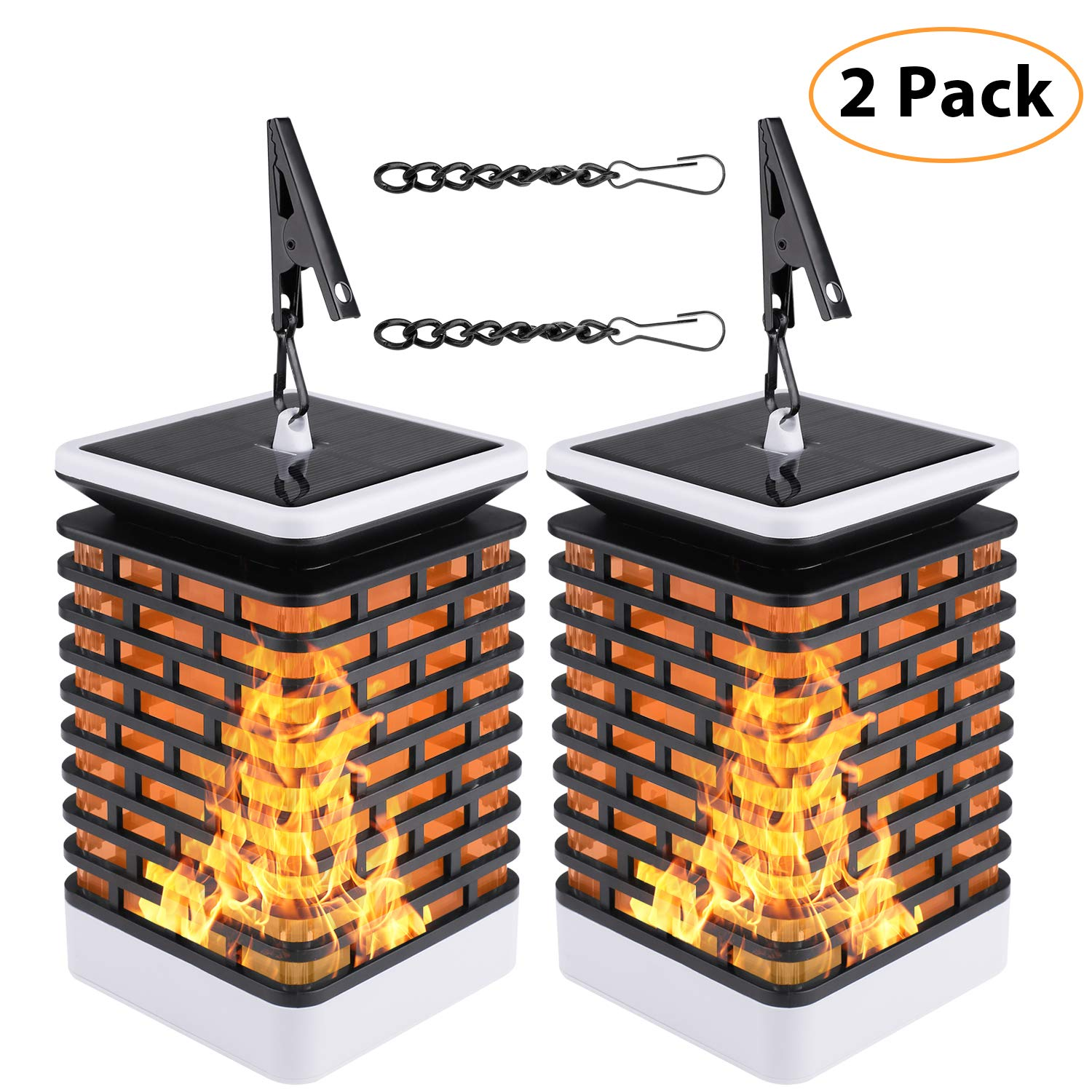 Sanniu 2 Packs Solar Lantern Lights Dancing Flame IP65 Waterproof 76 LED Outdoor Tabletop Lanterns Solar Powered Camping Lights Hook Tree Walkway Landscape