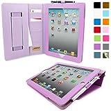 Étui iPad 3 & 4 de style 'Executive', Snugg™ - Housse / Smart Case en Cuir Violet avec Emplacements pour Cartes, Poche de Rangement et Garantie à Vie Pour Apple iPad 3 et iPad 4