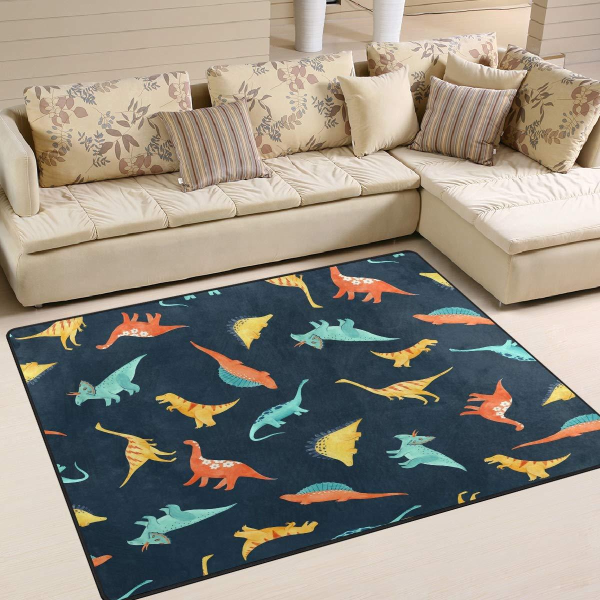ALAZA Cute Dinosaur Non Slip Area Rug 2 x 3 Modern Floor Rugs Mat for Living Room Bedroom Dinning Room Home Decor