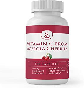 Natural Vitamin C from Acerola Cherry, High Potency, No Synthetic Ascorbic Acid, with No Additives, Rice Fillers or Magnesium Stearate, Non-GMO & Gluten-Free (535 mg)
