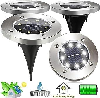 SunTop 4 piezas Focos Solares Luces LED Jardin Energía Solar Powered luz al aire libre de la lámpara 8 LED Camino Jardín Paisaje Spike iluminación para Yard Driveway Camino del césped: Amazon.es: