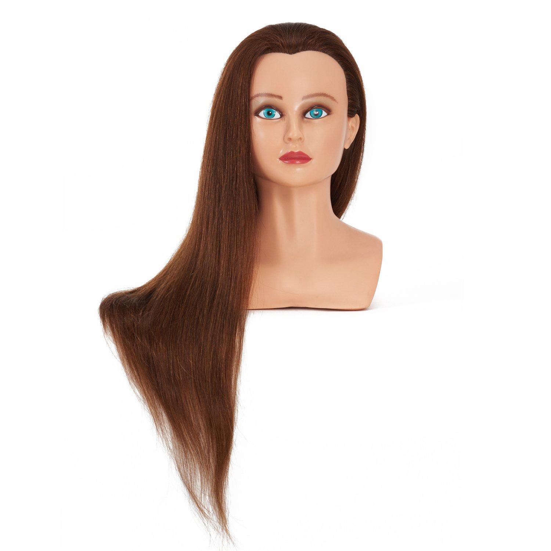 Hairginkgo 66- 71, 1cm 100% capelli umani Cosmetologia manichino per salone parrucchieri con free morsetto da tavolo (91806AW0424)