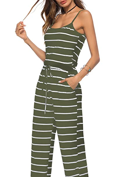 4aea9c2bee41 Famulily Womens Sleeveless Striped Wide Leg Jumpsuits  Amazon.co.uk   Clothing