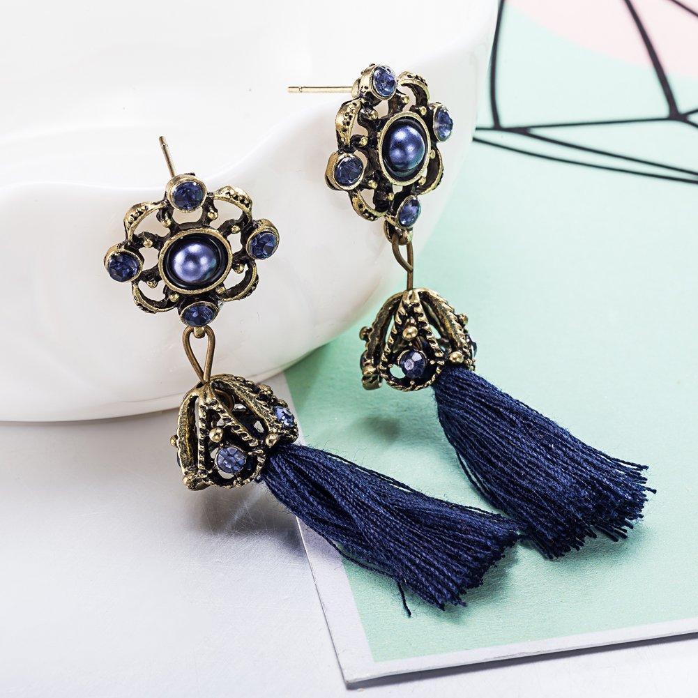Blue Flower Crystal Cubic Zirconia Tassel Earring for Women Girls Wedding Birthday Jewelry