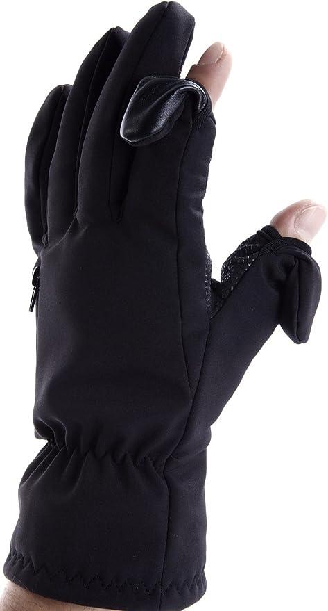 Punta delle dita ripiegabile e fissabile magneticamente con taschina zip per schede di memoria. Easy Off Gloves Guanti Unisex per Sci e Fotografia