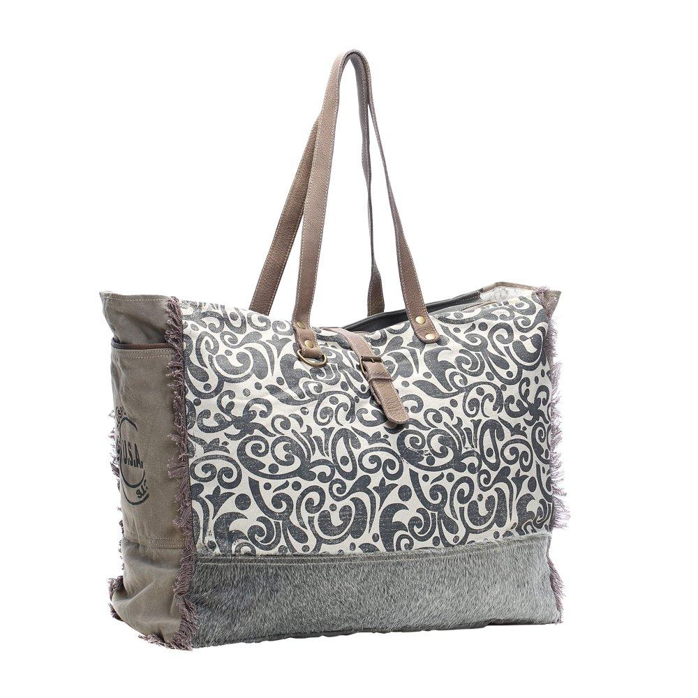 798b904cbfd6 Myra Bag Floral Upcycled Canvas & Cowhide Weekender Bag S-1142