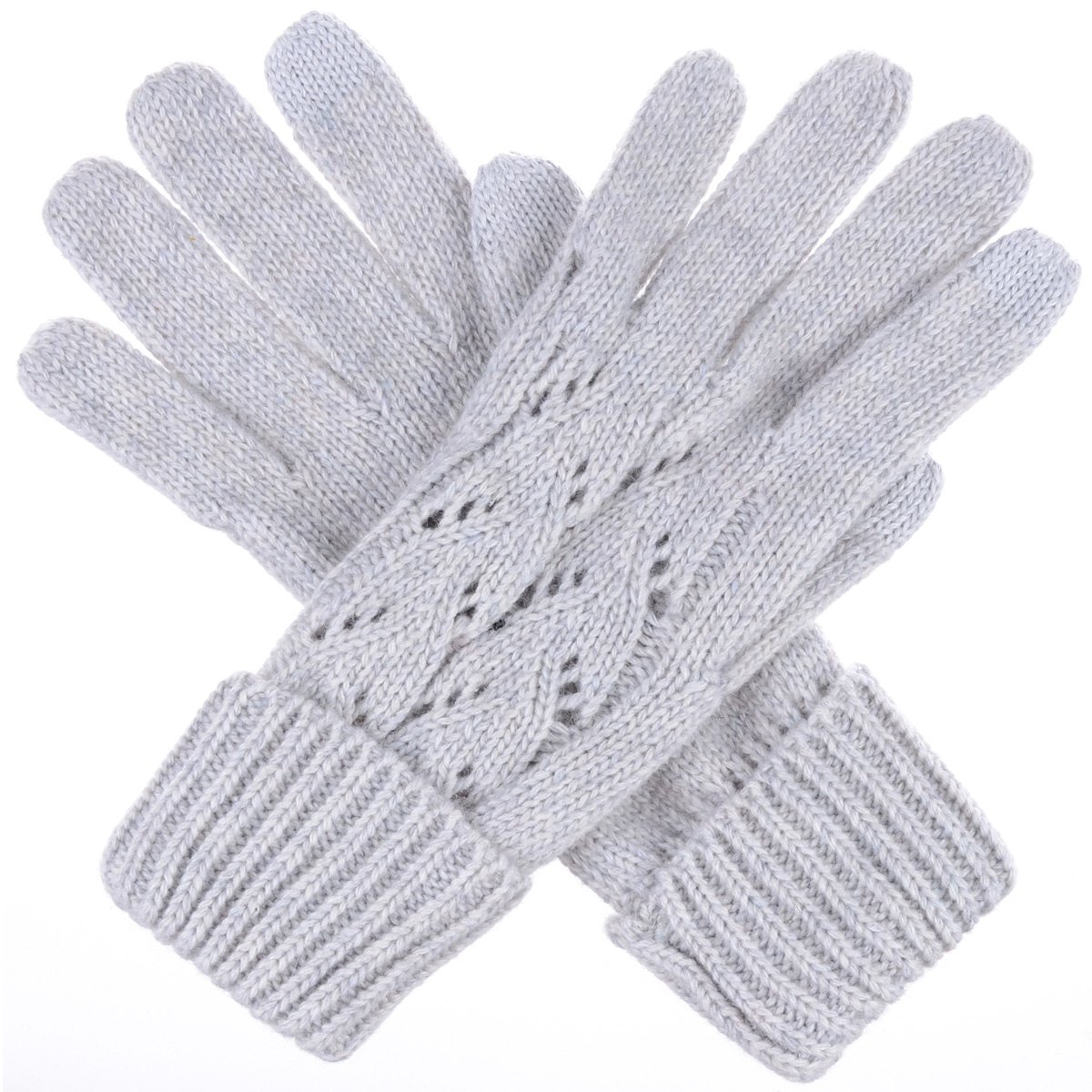 BYOS Women Winter Wool Blend Cable & Leafy Pattern Texting Knit Gloves w/ Two Fingertips Conductive Tech for All Touch-Screen Devices Smartphone & Tablet (Gray Leafy)