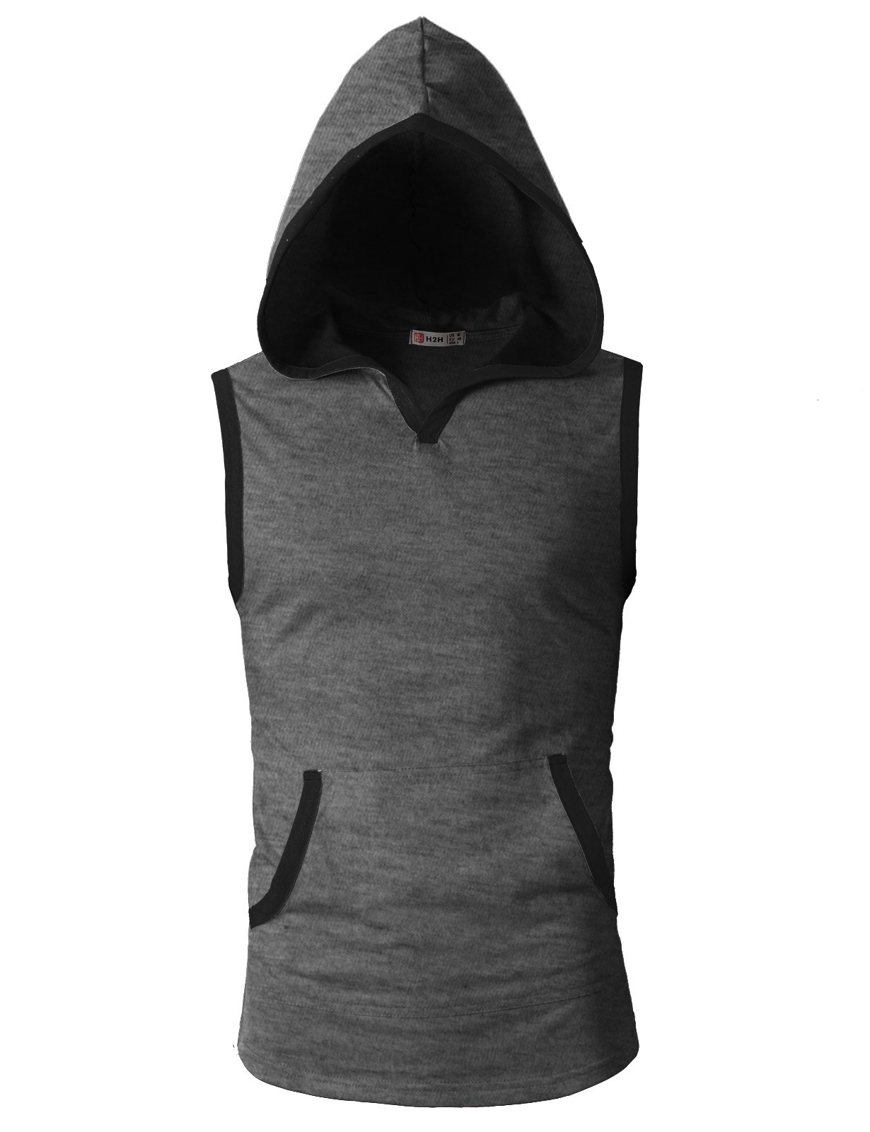 H2H Men's Workout Gym Fitness Muscle Sleeveless Pullover Hoodie Charcoal US S/Asia M (CMTTK015)