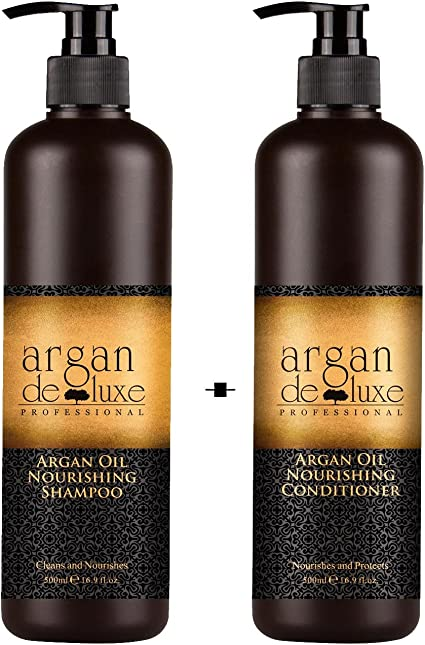 Argan De Luxe 100% Pure Organic Moroccan Argan Oil Nourishing Shampoo 500ml +Conditioner 500ml Shampoos (Beauty) at amazon