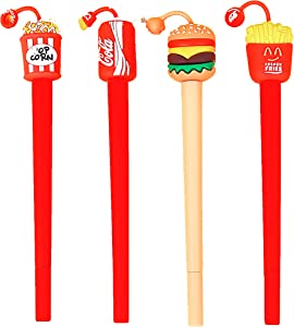 Fun Food Gel Ink Pen For Kids Teen Cool Novelty School Desk Supplies For Adult Write Note Unique Ballpoint Pens As Gifts For Coworkers Women Office Stationery(Hamburger,Coke,French Fries,Popcorn)