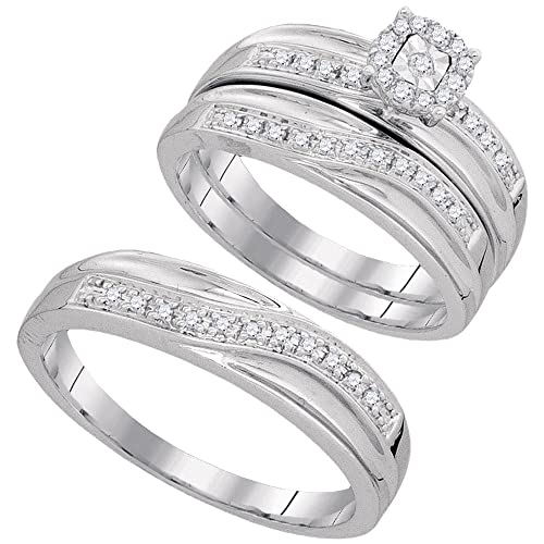 10 K oro blanco redondo diamantes juego TRIO Juego de anillos de boda novia para hombre