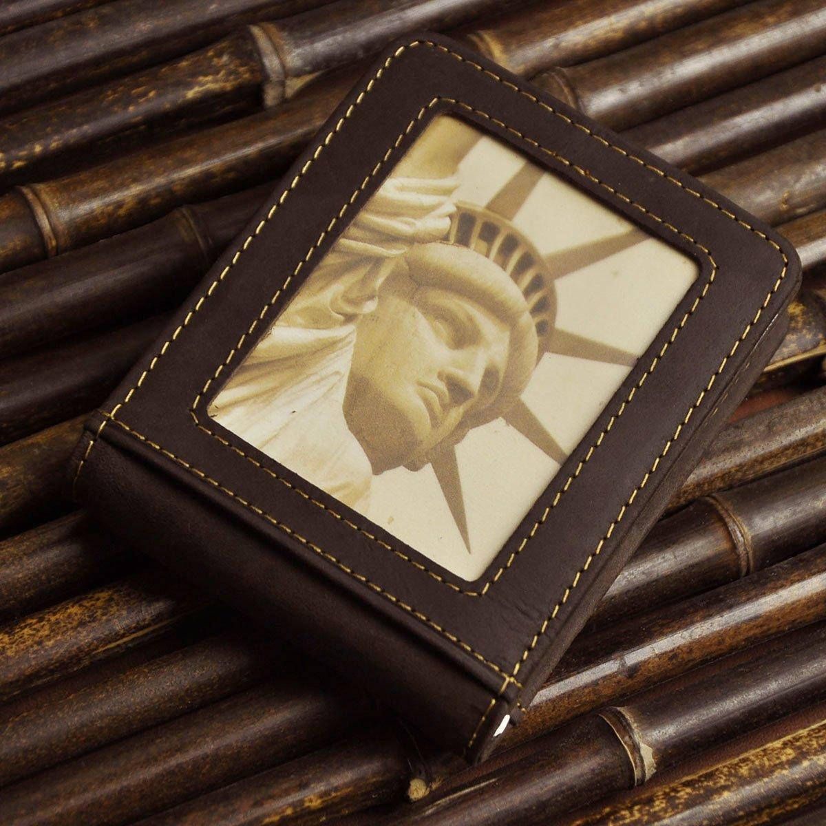 Leaokuu Mens Leather Designer Best Double Sided Slim Magnetic Money Clip Card Case Holder Organizer Front Pocket Wallet
