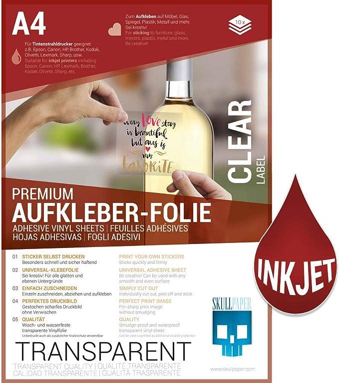 SKULLPAPER Lámina adhesiva A4 Premium transparente para impresora ...
