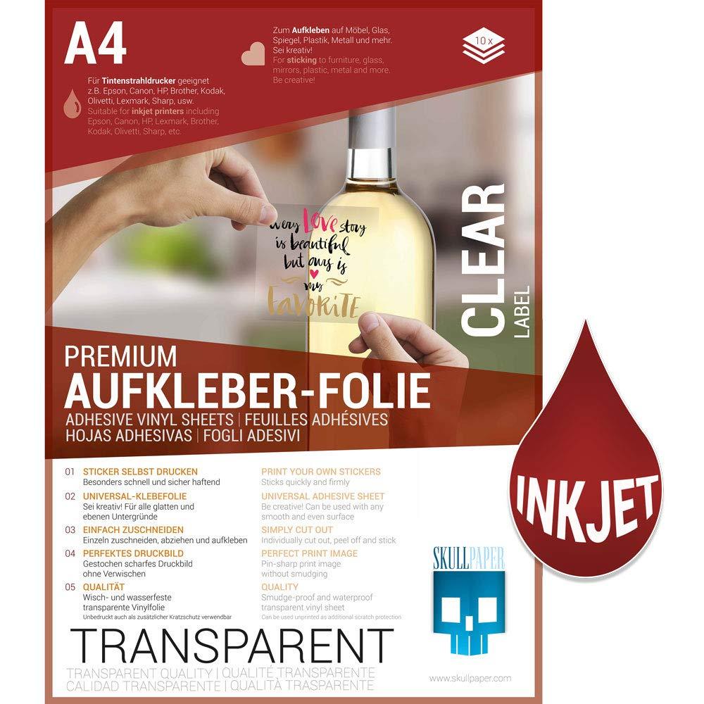 Skullpaper Klebefolie Transparent Zum Aufkleben Und Selbst Gestalten Für Inkjet Tintenstrahldrucker A4 10 Blatt