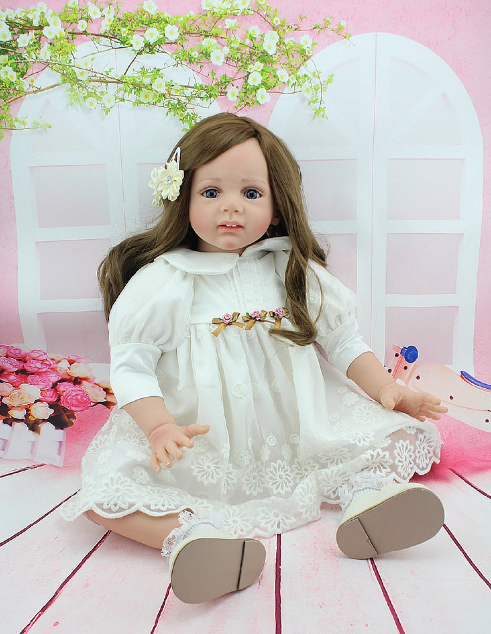 CHENGXX Regali di Natale Le Bambole di Simulazione I Bambini Giocattolo Carino Ragazza Regali Bambole del Bambino Rinascita 24 Pollici 60 Cm