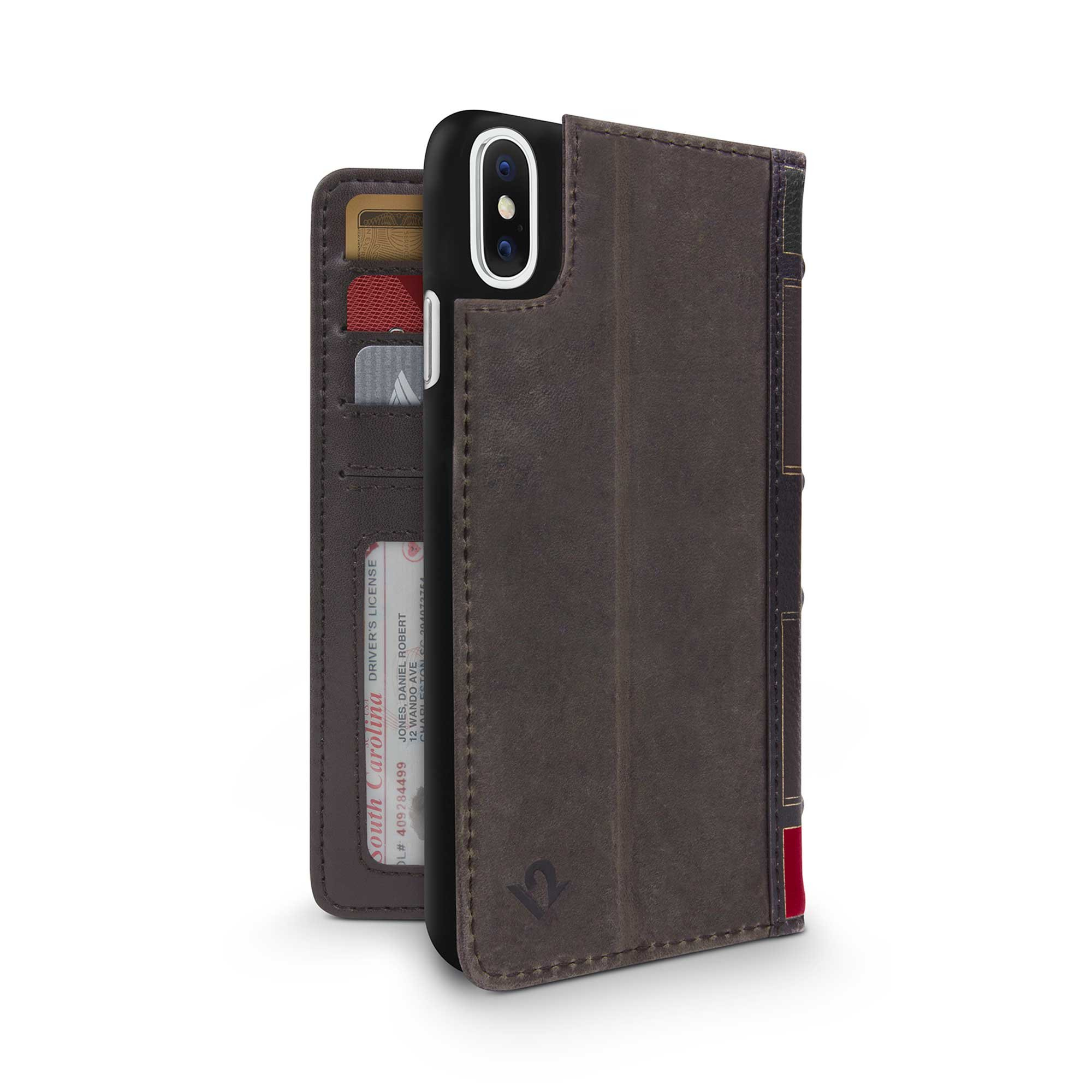Twelve South BookBook for iPhone XS / iPhone X | 3-in-1 Leather Wallet Case, Display Stand and Removable Shell (Brown) by Twelve South