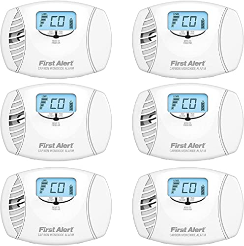 First Alert CO615 Dual Power Carbon Monoxide Plug-In Alarm with Battery Backup and Digital Display 6 Pack
