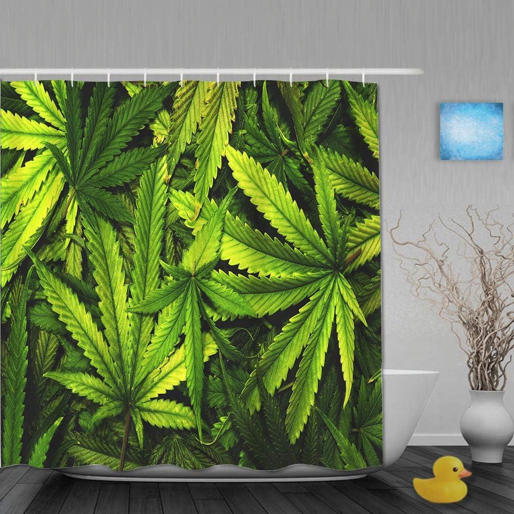 AIKIBELL Cortina de baño Repelente al Agua,Textura de Cannabis Fondo de Pila de Hoja de Marihuana con Estilo Plano Vintage,Cortinas de baño de poliéster de diseño 3D con 12 Ganchos
