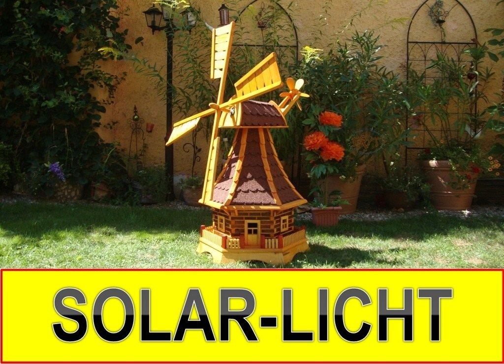 Windmühle, WETTERFEST, mit Windrad, Seitenruder, Windfahne, WMB-RAD130ro-MS ,Windmühlen mit Licht Solarbeleuchtung für Außen 1,30 m groß rot dunkel