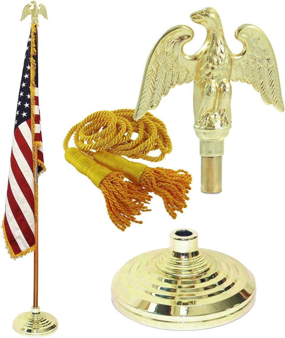 Super Tough Indoor American Cotton Flag, Flagpole, Base & Tassel (Metal Eagle, 7 Ft Oak Pole)