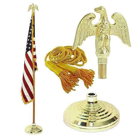 Amazon.com: Indoor American Flag Flagpole Base and Tassel: Home ...