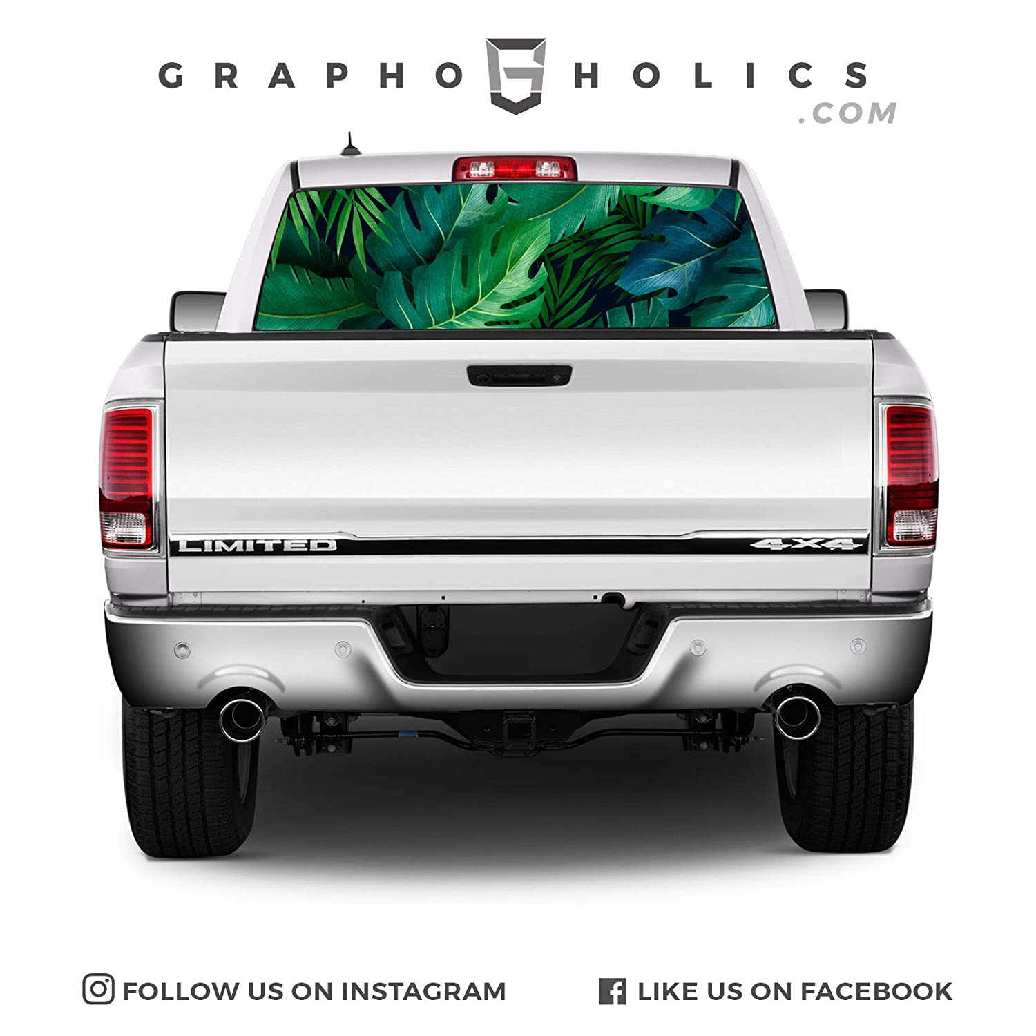 Green Tropics! Pick-Up Truck Perforated Rear Window Wrap