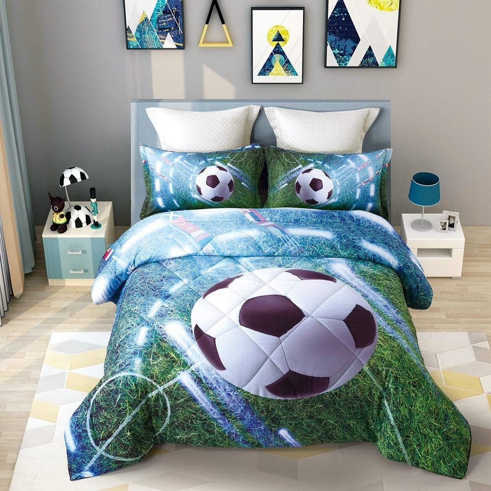 Wowelife 3D Soccer Comforter Set Full Green Playground Soccer Bedding Sets 5 Piece with Comforter, Flat Sheet, Fitted Sheet and 2 Pillow Cases(Green Soccer, Full) by Wowelife