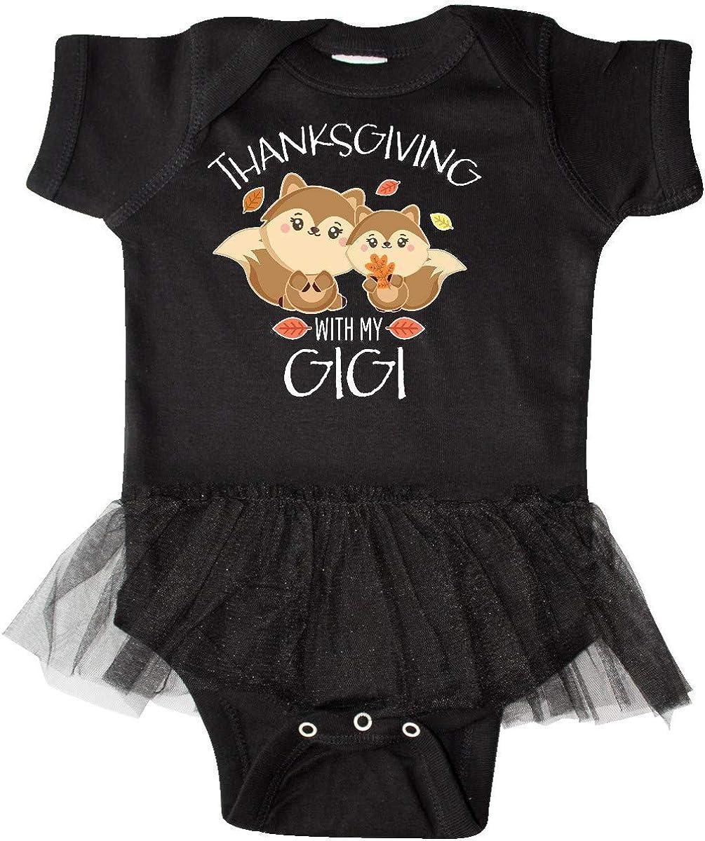 inktastic Thanksgiving with My Gigi Cute Squirrel Family Infant Tutu Bodysuit