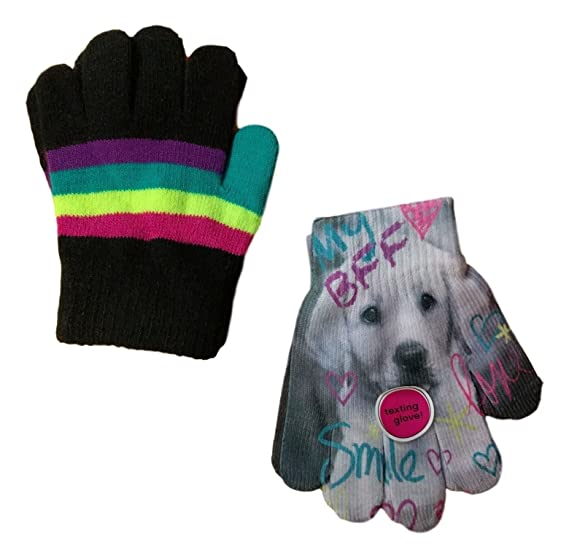 Amazon com: SO Girl Texting Gloves Puppy Dog Multi Striped