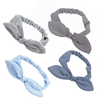 d766a8d932aee5 Amazon.com   Exacoo 4 Pieces Women Headbands Classic Grid Stripes Headwraps  Hair Band Bows Accessories for Fashion Or Sport   Beauty
