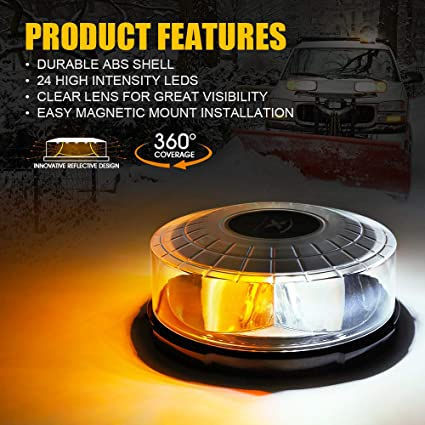 Xprite Moonbeam Series 24 LED 14 Modes White/&Amber Round Rooftop Emergency Rotating Revolving Strobe Beacon Light with Magnetic Mounts for 12V Vehicle Truck Car