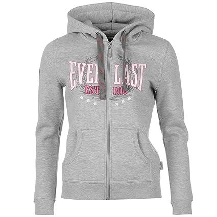 Everlast Logo est 1910 sudadera con cremallera y capucha para mujer gris sudadera con capucha sudadera