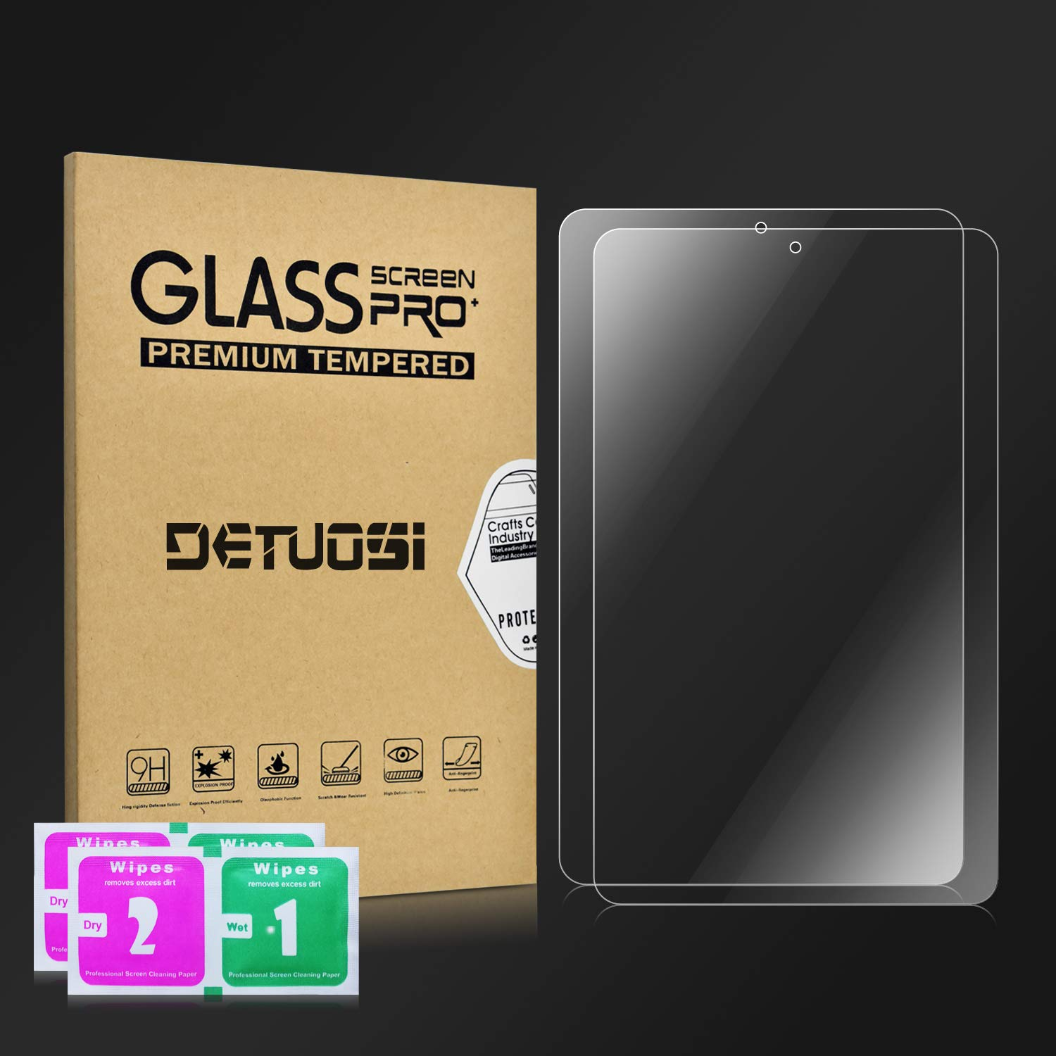 Scratch-Resistant No-Bubble 2 Pack Clear High Definition Tempered Glass Screen Protector for Samsung Galaxy Tab A SM-T387 DETUOSI Samsung Galaxy Tab A 8.0 2018 SM-T387 Screen Protector-