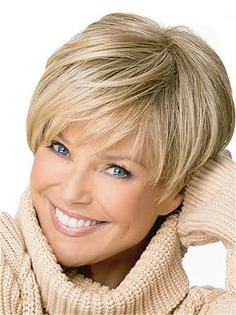 Abschnitt Pixie Cut Synthetische Perücke Kurze Glatte Haare Blonde