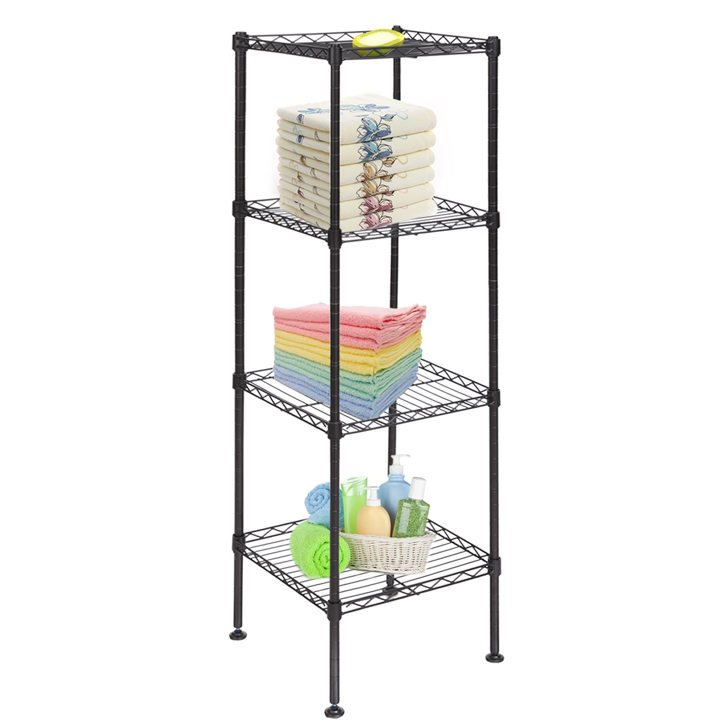 Dorfin Metal Storage Shelves, Wire Storage Organizer Rack 4-Tier Shelving Unit for Kitchen Living Room Bathroom Bedroom by, Black by Dorfin