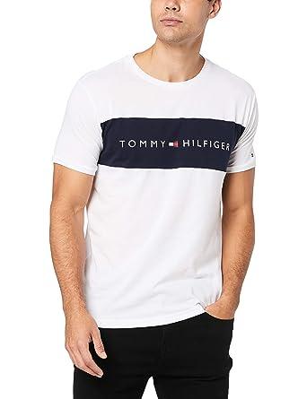 7a4a65ec7 Tommy Hilfiger Logo Block Crew-Neck Cotton T-Shirt, White X-Large ...