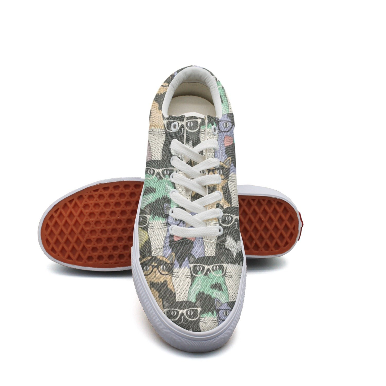 Hispter Cats With Glasses Fashion Canvas Sneaker Shoes For Womns 3D Printed Low Top Skateboarding Shoes