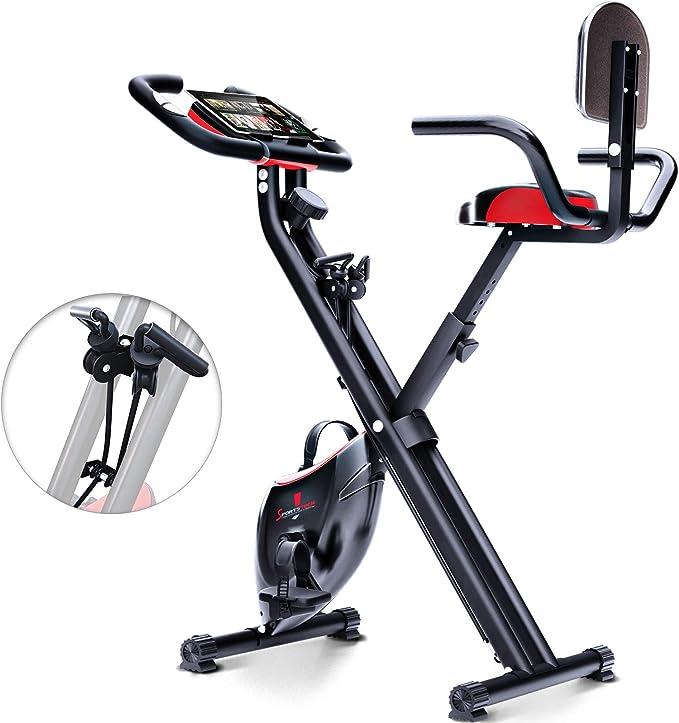 Sportstech X100-B Bicicleta estática Plegable con Respaldo Sistema de Resistencia Inteligente, inercia de 4kg, Soporte Tablet,8 Niveles de Resistencia magnética,pulsómetro Integrado: Amazon.es: Deportes y aire libre