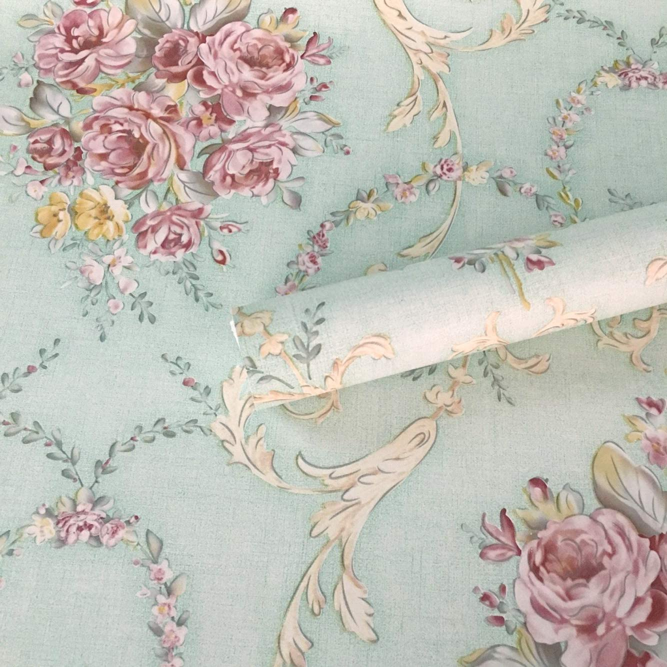 Amazon Com Tooldeco Vintage Floral Paper Peel And Stick Wallpaper