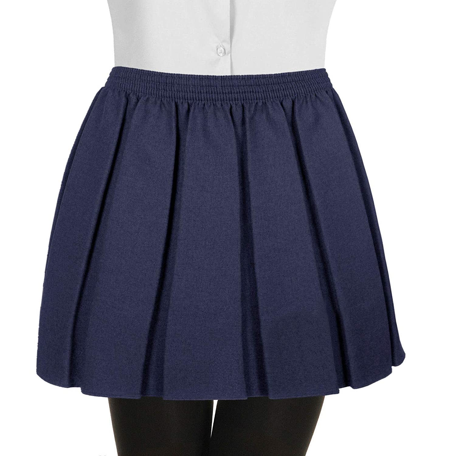 Womens Ladies Kids Girls Pleated School Uniform Full Elasticated Waist Skirt