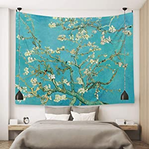 Ofat Home Wall Hanging Tapestry for Bedroom Aesthetic Home College Dorm Fabric Decor, Van Gogh Apricot Artistic Masterpiece Almond Blossom Oil Paintings, Green, 59x79 inches, Custom