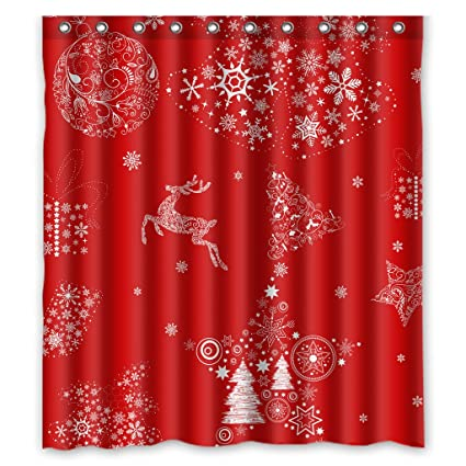 GCKG Xmas Merry Christmas Reindeer Red Shower Curtain 66quot X 72quot Waterproof Polyester Fabric