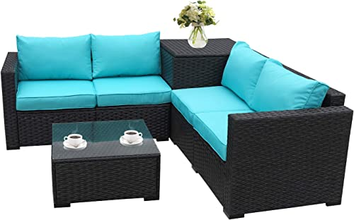 Patio PE Wicker Furniture Set 4 Piece Outdoor Black Rattan Sectional Loveseat Couch Set Conversation Sofa