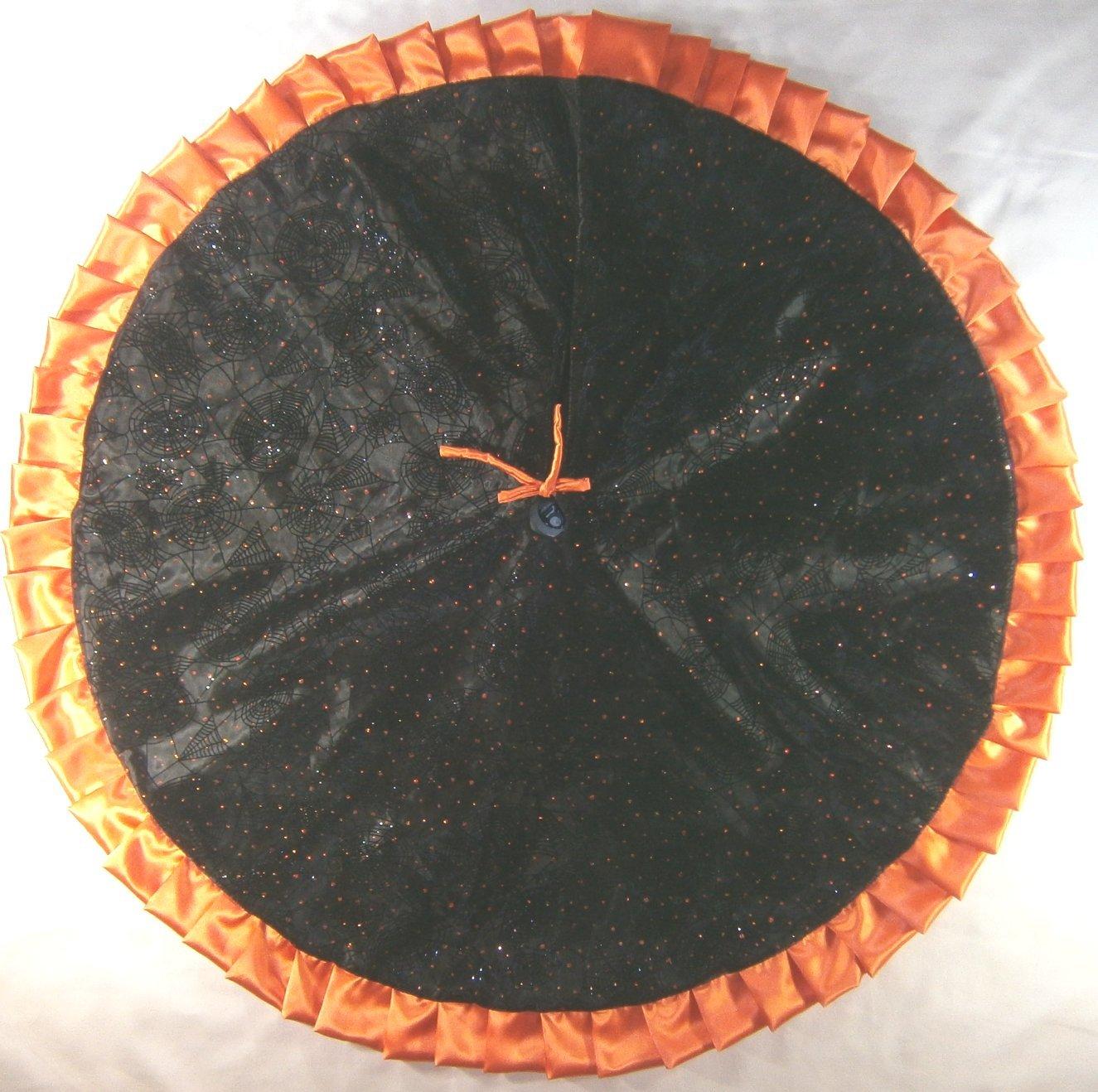 Halloween Tree Skirt, 47'' Black Flocked Webs with Orange Sequins