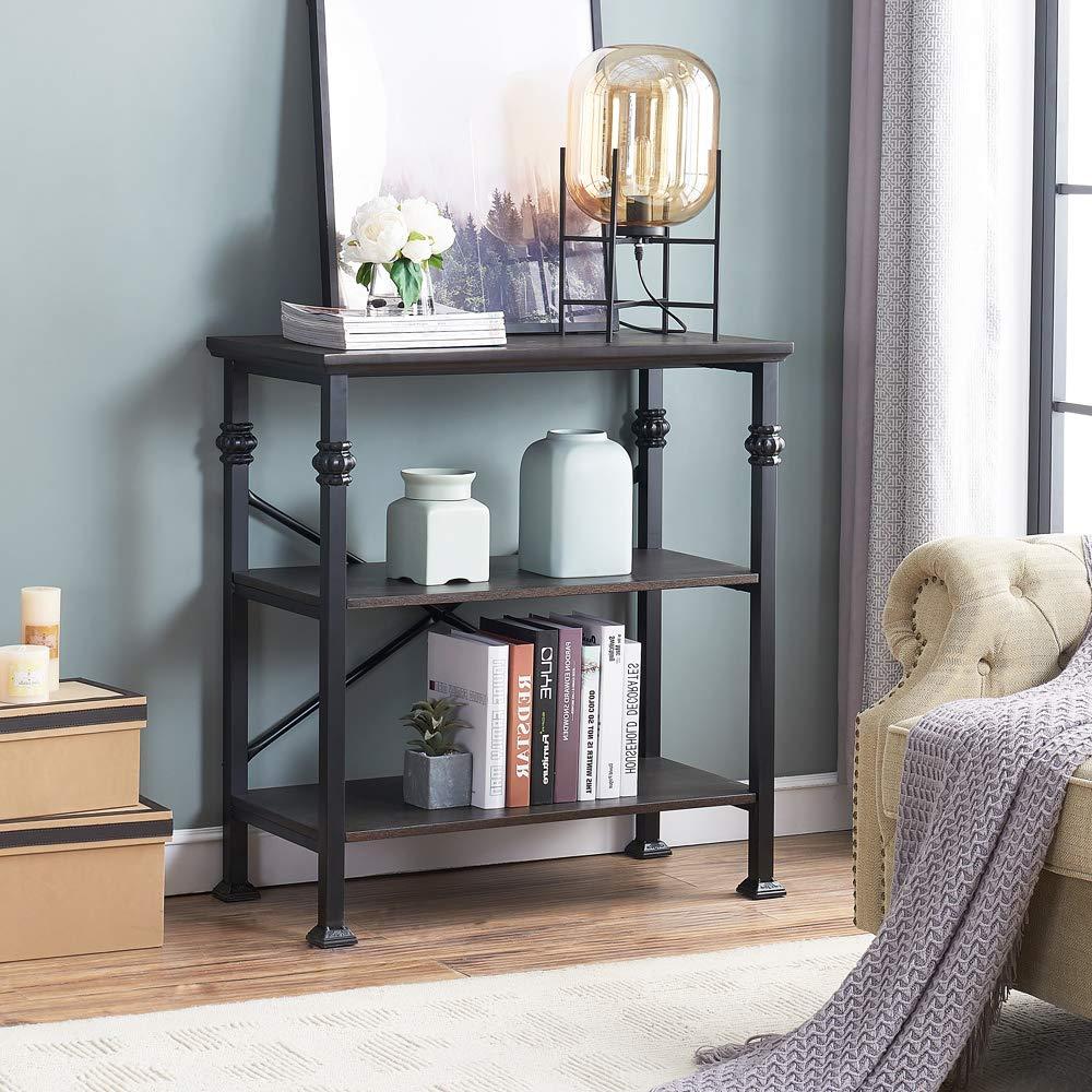 O K Furniture 3-Shelf Industrial Wood and Metal Bookcase, Multi-Function Etagere Bookshelf Designed for House Ornament, Black-Espress