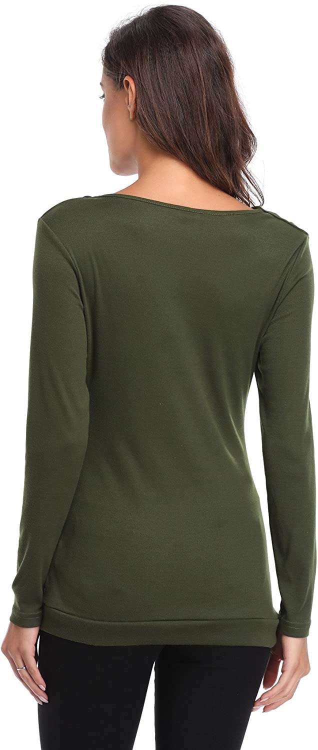 MISS MOLY Womens Ruched Front Tops Long Sleeves Cowl Neck Blouse Button Decor Tunic Shirt